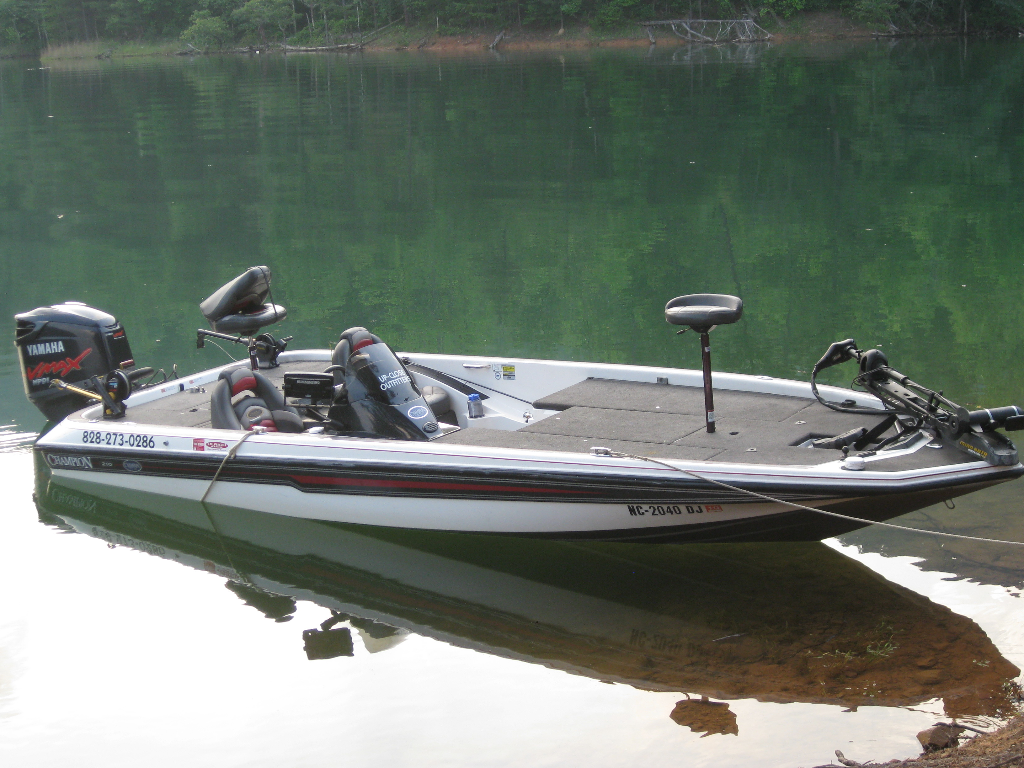 2007 champion elite bass boat for sale up close outfitters for Fishing pontoons for sale